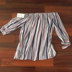 Pink Lily Boutique Tops - Small Striped Off Shoulder Shirt from Pink Lily